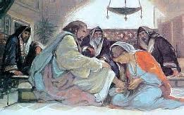 Jesus seated